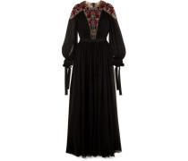 Verzierte Robe aus Plissiertem Georgette