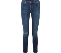 811 Halbhohe Skinny Jeans in Distressed-optik