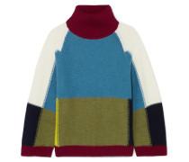 Rollkragenpullover aus Wolle in Colour-block-optik