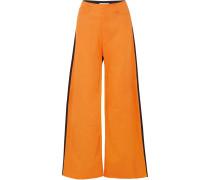 Zweifarbige Hose aus Drillich in Boyfriend-passform