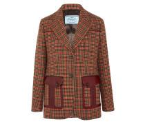 Lederbesetzter Blazer aus Tweed aus einer Karierten Wollmischung