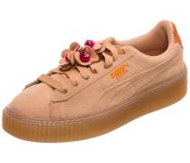 Suede Platform Flower Tassel Sneaker
