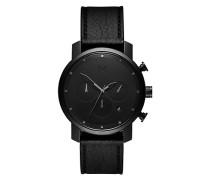 Herrenuhr Chrono Black Leather MC02-BLBL