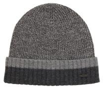 Mütze aus Schurwolle mit kontrastfarbenem Saum