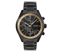 Sportive Armbanduhr aus schwarzem Edelstahl