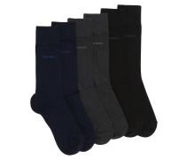 Dreier-Pack mittelhohe Socken aus elastischem Baumwoll-Mix