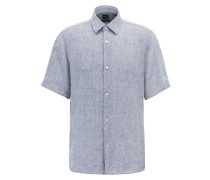 Regular-Fit Kurzarm-Hemd aus Leinen-Chambray