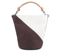 Colourblock bucket bag in soft leather