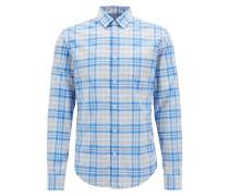 Meliertes Regular-Fit Karo-Hemd aus feuchtigkeitsableitender Baumwoll-Popeline