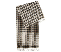 Three-colour scarf in virgin wool with houndstooth check