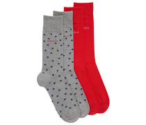 Mittelhohe Socken aus elastischem Baumwoll-Mix im Zweier-Pack