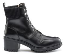 Geschnürte Leder-Boots mit Profilsohle