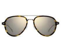 Braune Aviator-Sonnenbrille aus Acetat und Beta-Titan in Horn-Optik