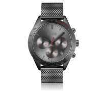 Grau beschichteter Chronograph mit Mesh-Armband