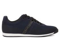 Lowtop Sneakers aus Veloursleder und Jacquard