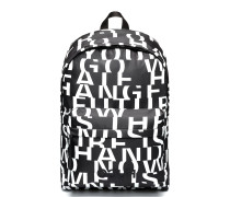 Rucksack aus Nylon mit abstraktem Slogan-Print