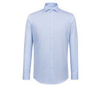 Gestreiftes Slim-Fit Hemd aus bügelleichter Baumwoll-Popeline
