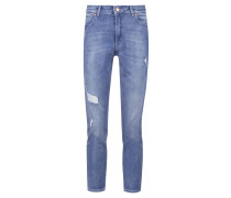 Regular-Fit Jeans in Cropped-Länge aus italienischem Stretch-Denim