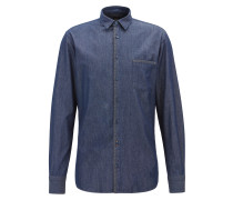 Slim-Fit Hemd aus Washed Denim mit Mesh-Details