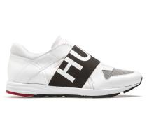 Lowtop Ledersneakers mit Logo-Riemen
