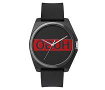 Uhr mit spiegelverkehrtem Logo und Silikon-Armband
