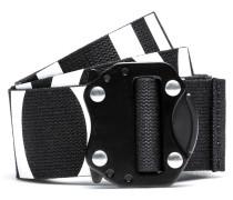 Reverse-logo belt in Italian cotton with gunmetal closure