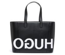 Shopper aus Leder mit aufgenähtem Reversed-Logo