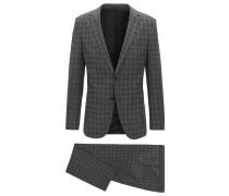 Karierter Slim-Fit Anzug aus Schurwoll-Mix