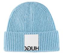 Gerippte Mütze mit Reversed-Logo-Patch aus Leder