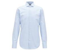 Slim-Fit Hemd aus zweifarbiger italienischer Baumwolle