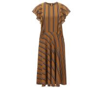 Gemustertes Kleid aus Material-Mix