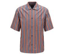 Gestreiftes Relaxed-Fit Hemd mit Freizeitkragen