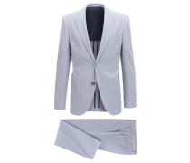Gestreifter Regular-Fit Anzug aus elastischem Baumwoll-Seersucker