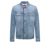 Jeansjacke in heller Waschung mit Reißverschluss
