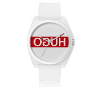 Unisex-Uhr mit Silikon-Armband und Reversed-Logo