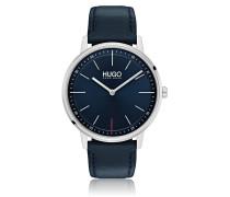 Unisex-Uhr mit blauem Zifferblatt und Lederarmband