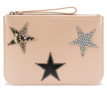 Leather clutch bag with calf-leather star appliqués