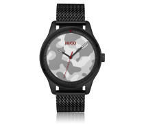 Uhr mit Camouflage-Zifferblatt und Mesh-Armband