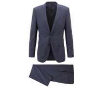 Slim-Fit Anzug aus Schurwolle mit unifarbenem Karo