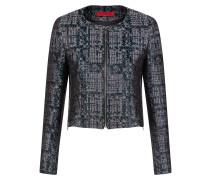 Kragenloser Regular-Fit Blazer aus Tweed