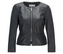 Kragenlose Jacke aus perforiertem Leder