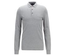 Longsleeve-Poloshirt aus elastischem Baumwoll-Piqué