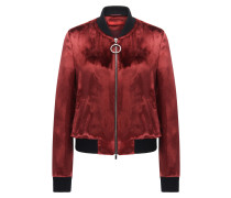 Relaxed-Fit Bomberjacke aus Material-Mix mit Seide