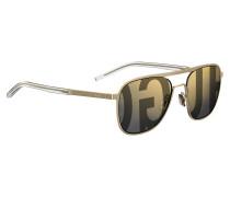Goldfarbene Aviator-Sonnenbrille mit Logo-Gläsern