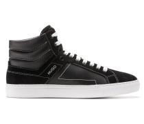 Hightop Sneakers aus beschichtetem Canvas und Veloursleder