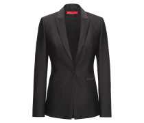 Regular-Fit Blazer aus Woll-Mix mit Baumwolle