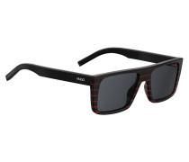 Eckige Sonnenbrille aus schwarzem Acetat