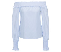 Schulterfreie Bluse aus strukturierter Baumwolle