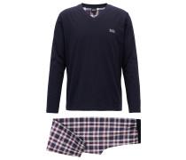 Pyjama aus gebürsteter Baumwolle mit Karo-Muster
