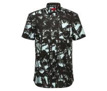 Extra Slim-Fit Kurzarm-Hemd aus bedruckter Baumwolle